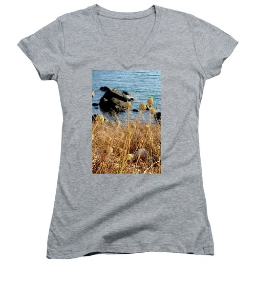 Women's V-Neck T-Shirt (Junior Cut) featuring the photograph Watching The Sea 2 by Pedro Cardona