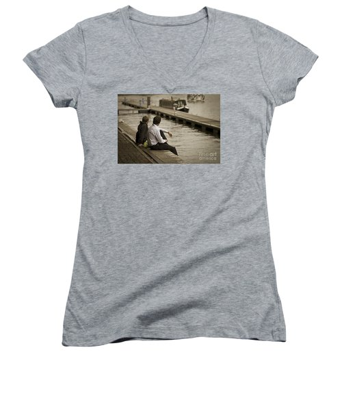 Watching The World Go By Women's V-Neck (Athletic Fit)