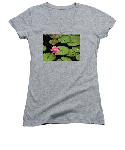 Women's V-Neck T-Shirt (Junior Cut) featuring the photograph Water Lily by Kay Lovingood