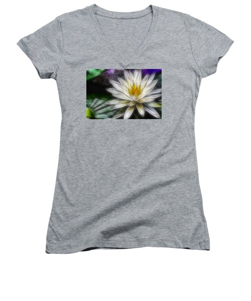 Women's V-Neck T-Shirt (Junior Cut) featuring the digital art Waterlily In Pseudo-fractal by Lynne Jenkins