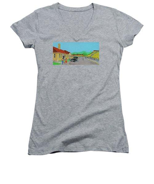 Wayne Hills 1948 Women's V-Neck T-Shirt (Junior Cut) by Frank Hunter