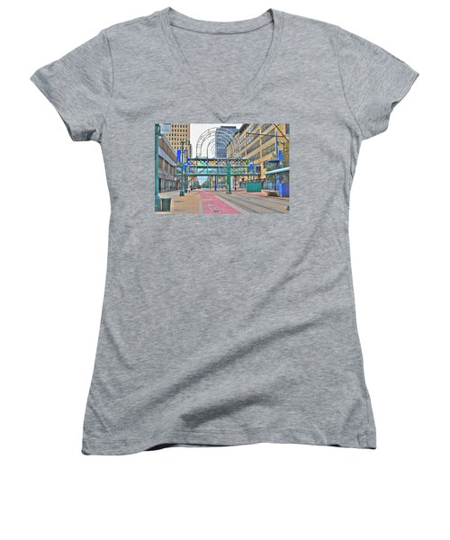 Women's V-Neck T-Shirt (Junior Cut) featuring the photograph Welcome No 2 by Michael Frank Jr