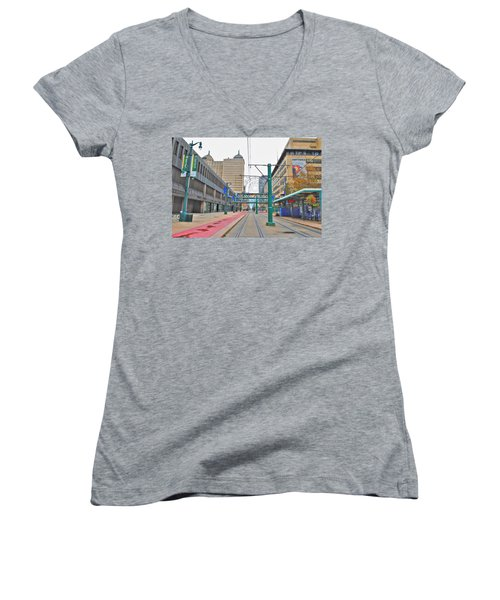 Women's V-Neck T-Shirt (Junior Cut) featuring the photograph Welcome To Dt Buffalo by Michael Frank Jr