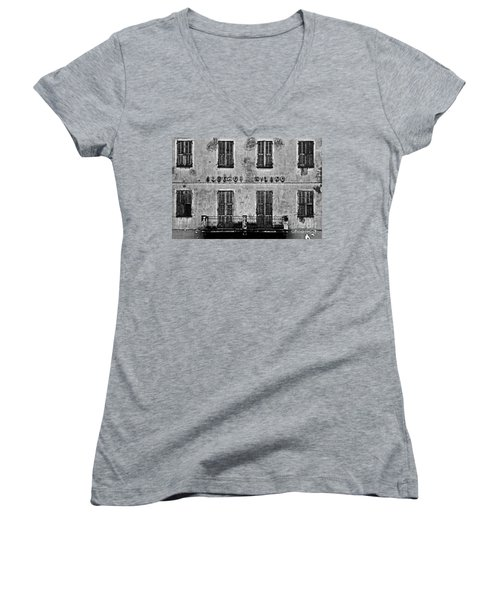 Women's V-Neck T-Shirt (Junior Cut) featuring the photograph Welcome To The Hotel Milano by Andy Prendy