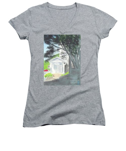 Women's V-Neck T-Shirt (Junior Cut) featuring the painting Wellers Carriage House 1 by Yoshiko Mishina