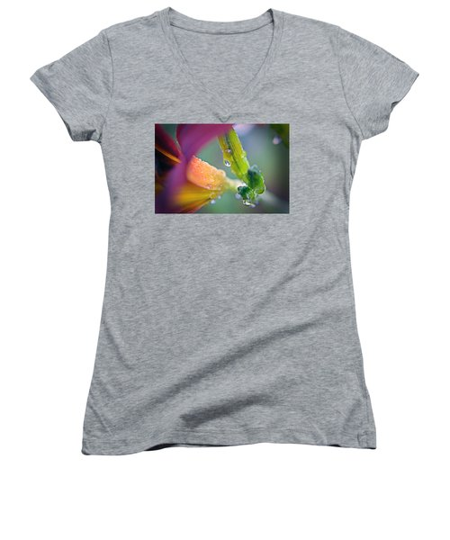 Women's V-Neck T-Shirt (Junior Cut) featuring the photograph Wet Lily by Susan Leggett