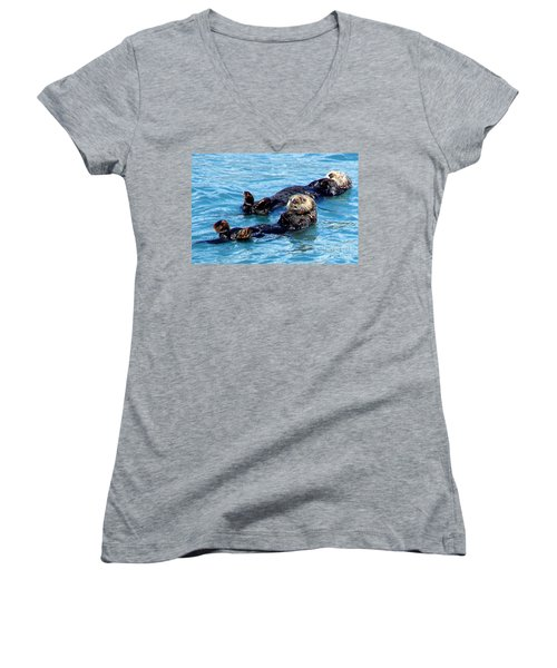 Women's V-Neck T-Shirt (Junior Cut) featuring the photograph Whatchu Looking At by Kathy  White