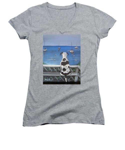 When My Ship Comes In Women's V-Neck T-Shirt (Junior Cut) by Jan VonBokel