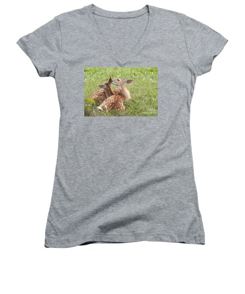 Women's V-Neck T-Shirt (Junior Cut) featuring the photograph Whispering Fawns by Jeannette Hunt