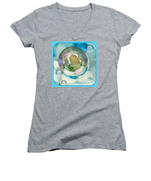 White Gladiola Marble In A Bubble Women's V-Neck