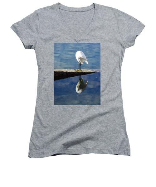White Heron Women's V-Neck T-Shirt (Junior Cut) by Anne Mott