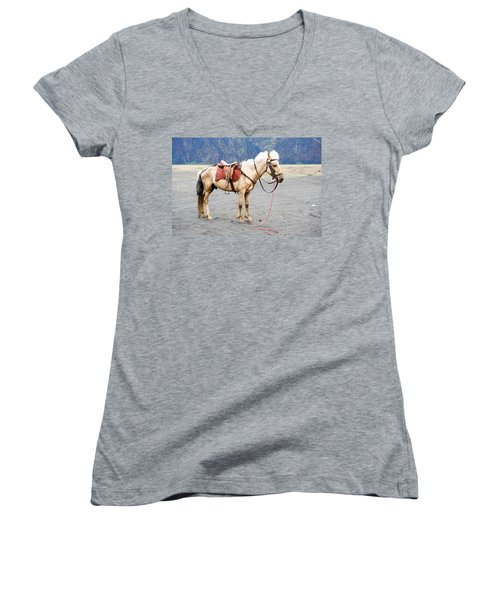 Women's V-Neck T-Shirt (Junior Cut) featuring the photograph White Horse by Yew Kwang