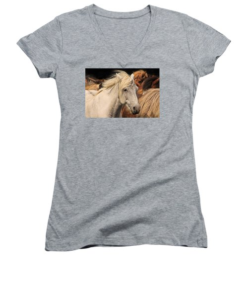 White Icelandic Horse Women's V-Neck (Athletic Fit)