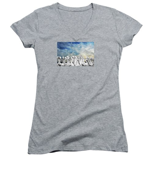 White Pelicans In Group Women's V-Neck T-Shirt (Junior Cut) by Dan Friend