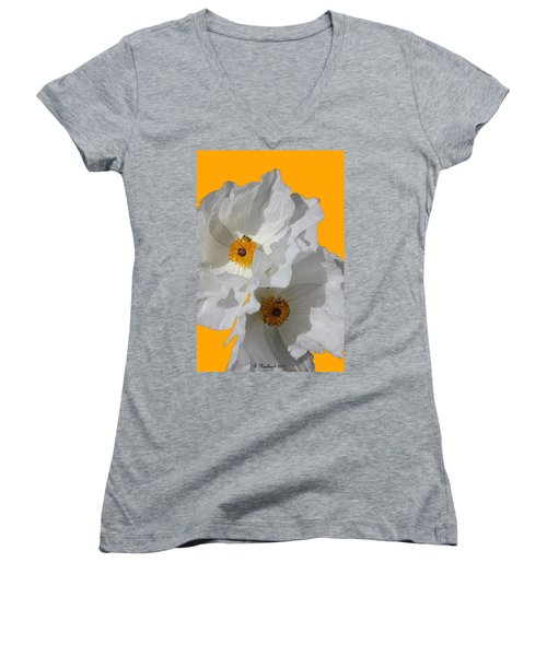 White Poppies On Yellow Women's V-Neck T-Shirt (Junior Cut) by Betty Northcutt