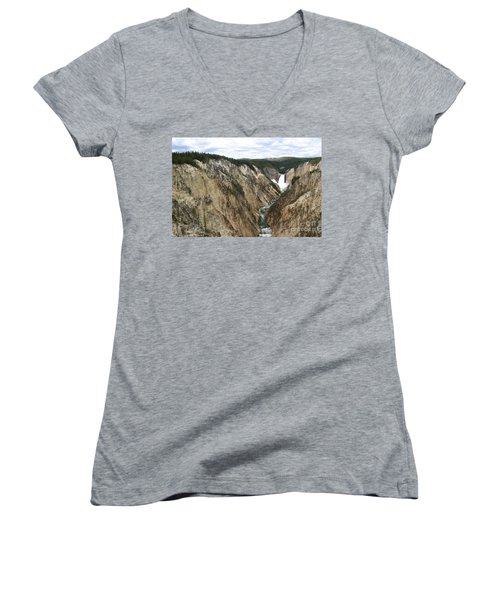 Wide View Of The Lower Falls In Yellowstone Women's V-Neck T-Shirt (Junior Cut) by Living Color Photography Lorraine Lynch