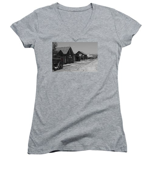 Women's V-Neck T-Shirt (Junior Cut) featuring the photograph Wild Wild West by Deniece Platt