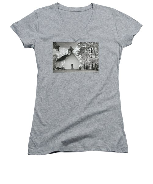 Women's V-Neck T-Shirt (Junior Cut) featuring the photograph Wildwood Church by Mary Almond