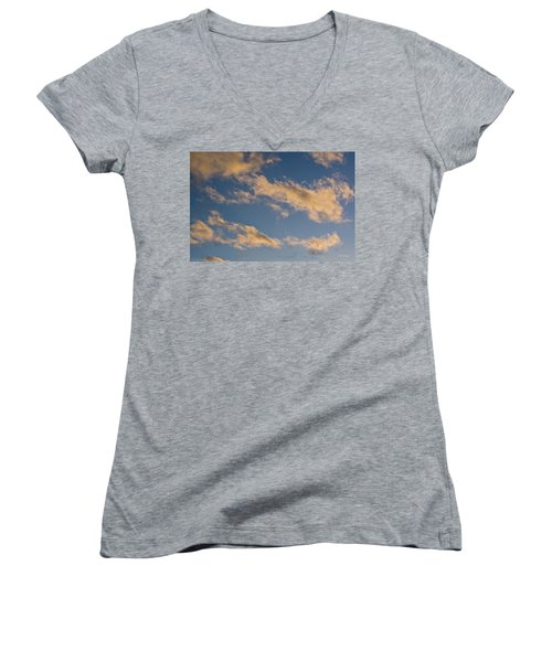 Women's V-Neck T-Shirt (Junior Cut) featuring the photograph Wind Driven Clouds by Mick Anderson