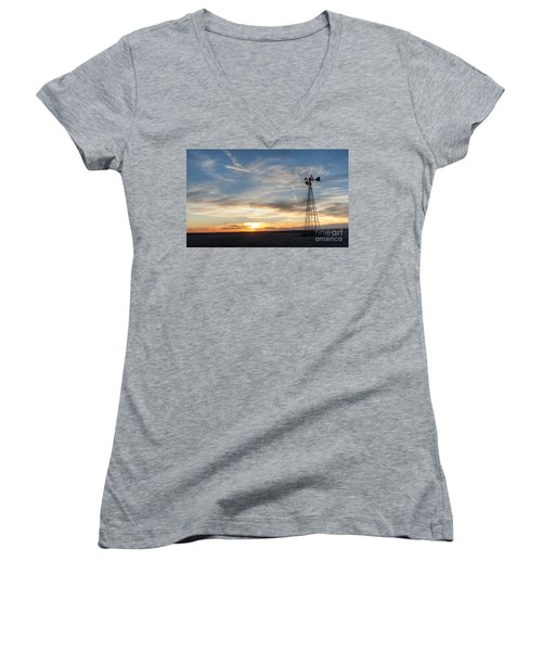 Women's V-Neck T-Shirt (Junior Cut) featuring the photograph Windmill And Sunset by Art Whitton