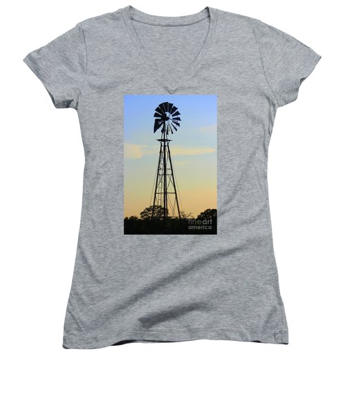 Women's V-Neck T-Shirt (Junior Cut) featuring the photograph Windmill At Dusk by Kathy  White