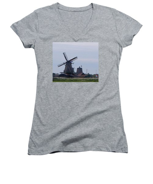 Women's V-Neck T-Shirt (Junior Cut) featuring the photograph Windmill by Manuela Constantin