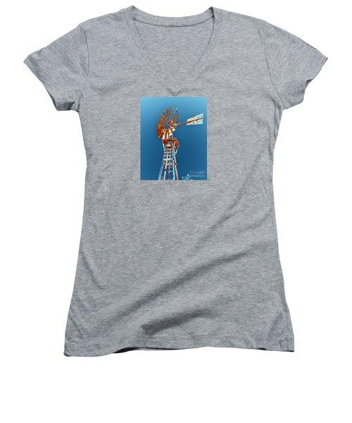 Windmill Rust Orange With Blue Sky Women's V-Neck T-Shirt (Junior Cut) by Rebecca Margraf