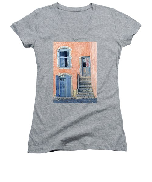 Women's V-Neck T-Shirt (Junior Cut) featuring the photograph Window And Doors Provence France by Dave Mills