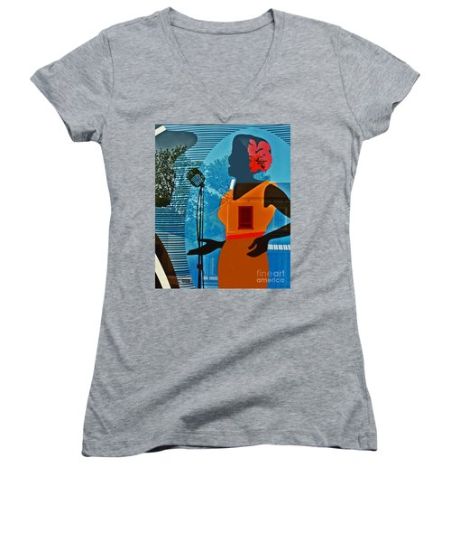 Women's V-Neck T-Shirt (Junior Cut) featuring the photograph Window To My Soul by Barbara McMahon
