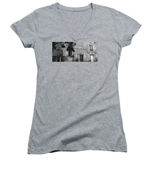Women's V-Neck T-Shirt (Junior Cut) featuring the photograph Crumbling In Croatia by Andy Prendy