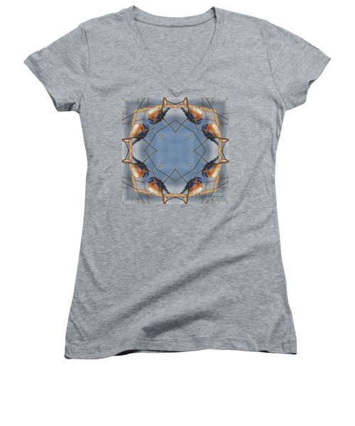 Winter Bluebird Kaleidoscope Women's V-Neck T-Shirt (Junior Cut) by Smilin Eyes  Treasures