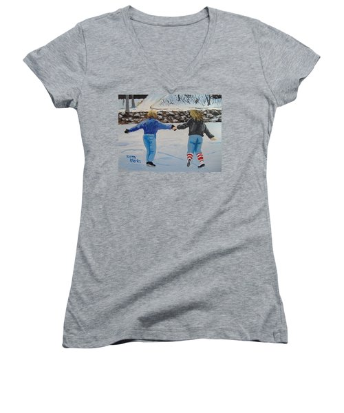 Women's V-Neck T-Shirt (Junior Cut) featuring the painting Winter Fun by Norm Starks