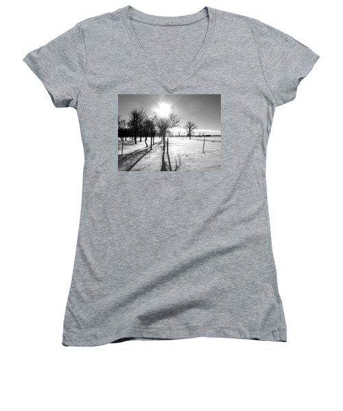 Winter Shadows Women's V-Neck T-Shirt