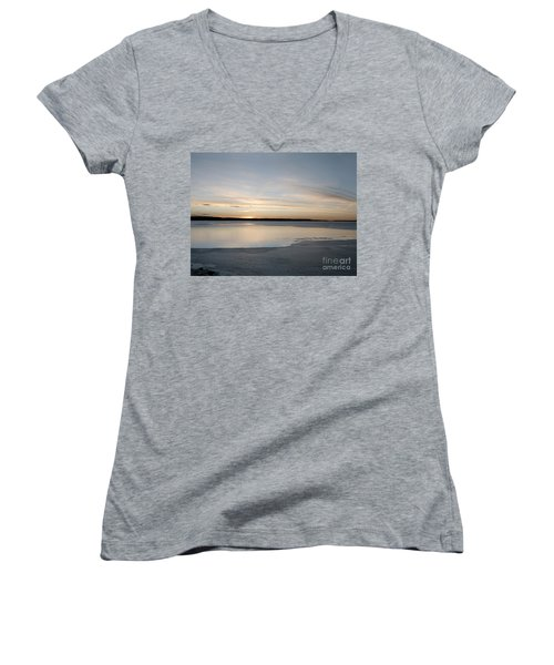 Women's V-Neck T-Shirt (Junior Cut) featuring the photograph Winter Sunset Over Lake by Art Whitton