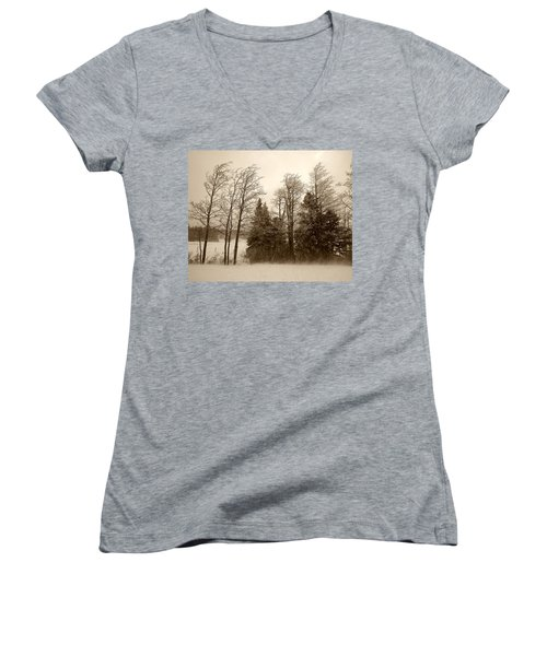 Women's V-Neck T-Shirt (Junior Cut) featuring the photograph Winter Treeline by Hugh Smith