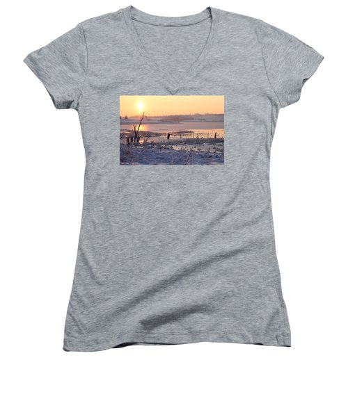 Women's V-Neck T-Shirt (Junior Cut) featuring the photograph Winter's Morning by Elizabeth Winter