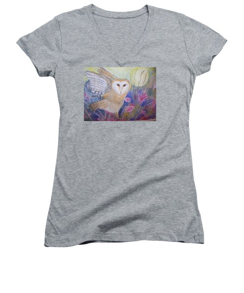 Women's V-Neck T-Shirt (Junior Cut) featuring the painting Wise Moon by Belinda Lawson
