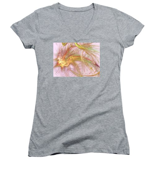 Women's V-Neck T-Shirt (Junior Cut) featuring the digital art Wispy Willow by Kim Sy Ok