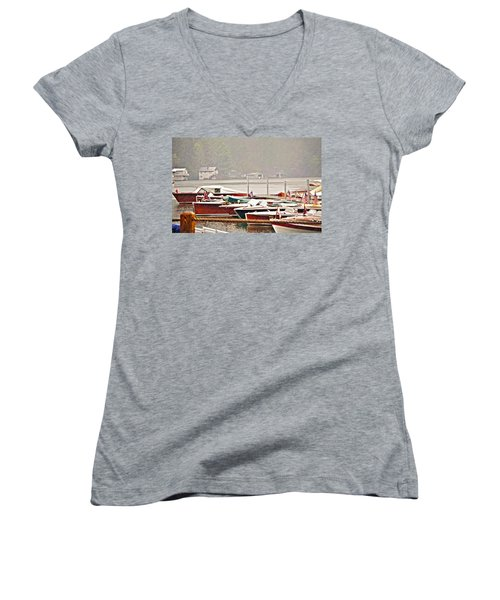 Wood Boats In The Rain Women's V-Neck T-Shirt