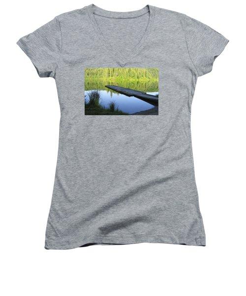 Wooden Dock On Lake Women's V-Neck T-Shirt (Junior Cut) by Anne Mott
