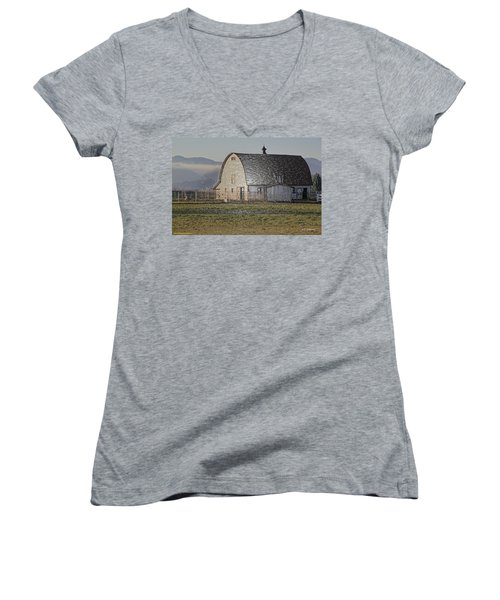 Wrapped Barn Women's V-Neck T-Shirt (Junior Cut) by Mick Anderson