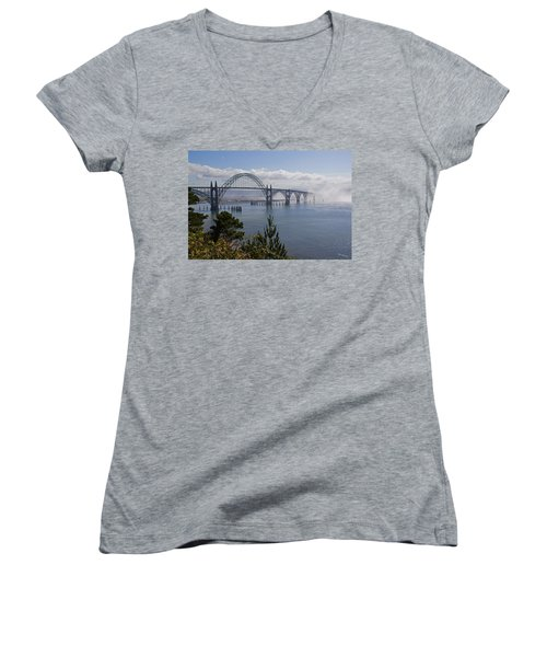 Yaquina Bay Bridge Women's V-Neck T-Shirt (Junior Cut) by Mick Anderson