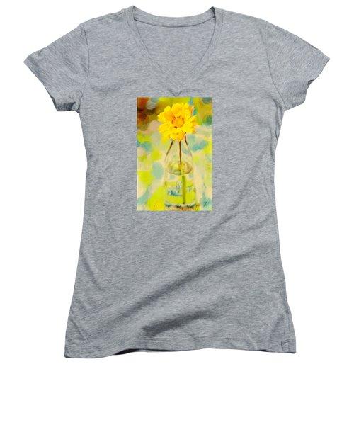 Yellow Flower Women's V-Neck T-Shirt