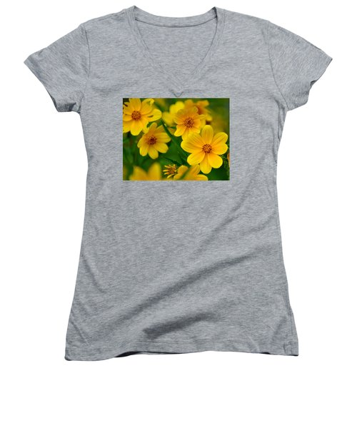 Women's V-Neck T-Shirt (Junior Cut) featuring the photograph Yellow Flowers by Marty Koch