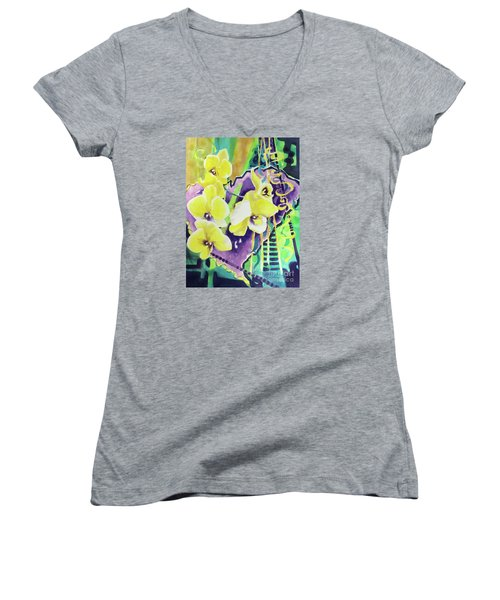 Yellow Orchids Of The Heart Women's V-Neck