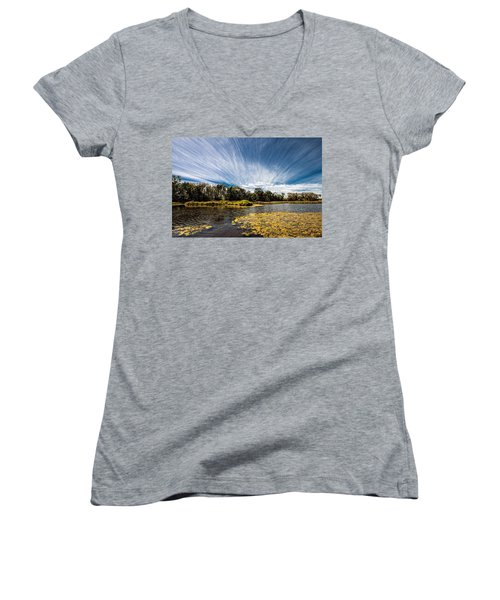 Women's V-Neck T-Shirt (Junior Cut) featuring the photograph You Cannot Be Cirrus by Tom Gort