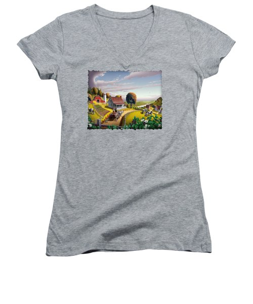 Appalachian Blackberry Patch Rustic Country Farm Folk Art Landscape - Rural Americana - Peaceful Women's V-Neck T-Shirt