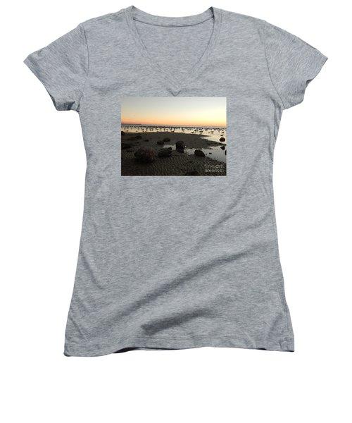 Beach Rocks Barnacles And Birds Women's V-Neck T-Shirt (Junior Cut) by Expressionistart studio Priscilla Batzell