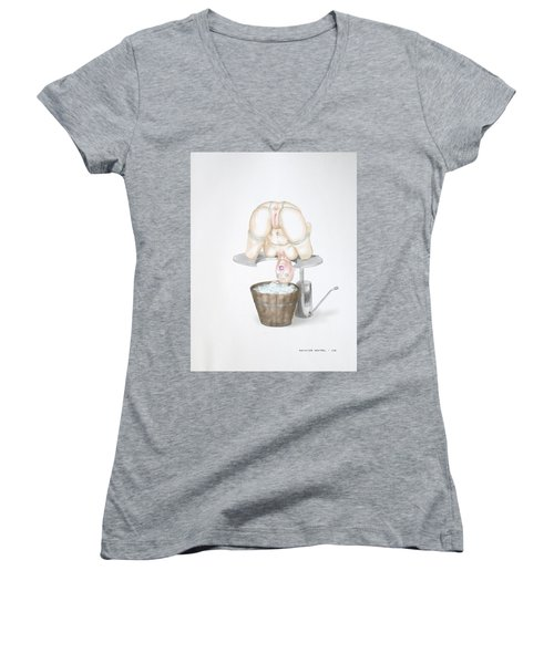 Women's V-Neck featuring the mixed media  Behavior Control by TortureLord Art