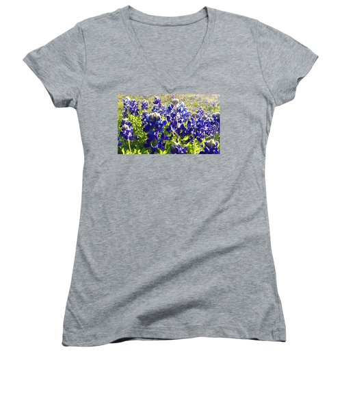 Women's V-Neck T-Shirt (Junior Cut) featuring the painting  Bluebonnet Morning by Karen Kennedy Chatham